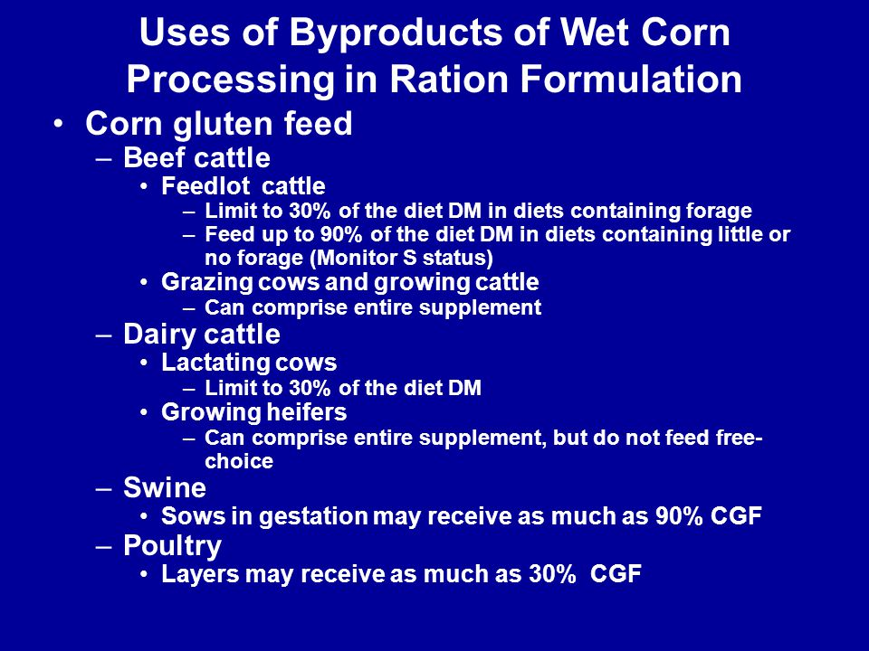 Uses of Byproducts of Wet Corn Processing in Ration Formulation Corn gluten feed –Beef cattle Feedlot cattle –Limit to 30% of the diet DM in diets con