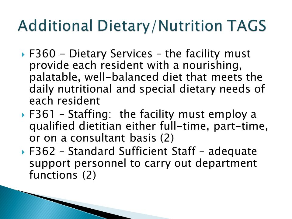 Diet determined with the person and in consideration of his/her informed choices, goals, and preferences rather than exclusively by diagnosis Consider beginning with a regular diet and monitoring the individual response to it, unless a medical condition warrants a restricted diet.