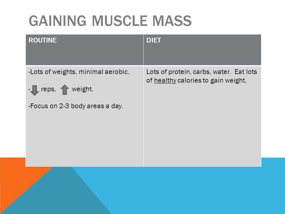 GAINING MUSCLE MASS ROUTINEDIET -Lots of weights, minimal aerobic.