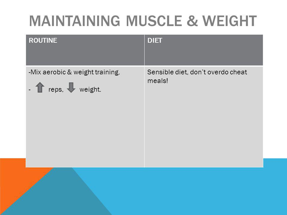 MAINTAINING MUSCLE & WEIGHT ROUTINEDIET -Mix aerobic & weight training.