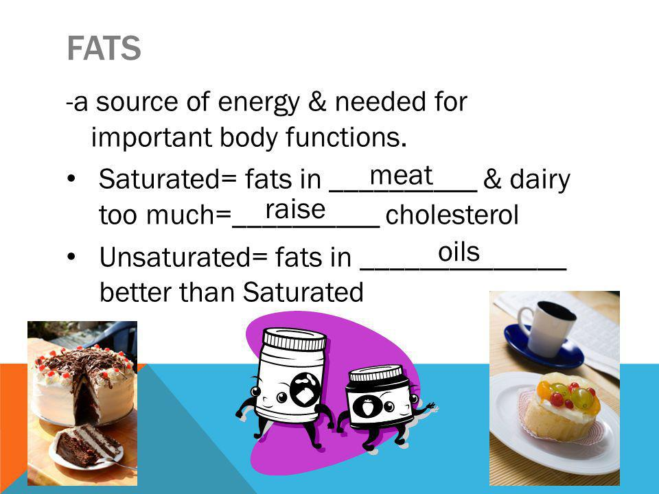 FATS -a source of energy & needed for important body functions.