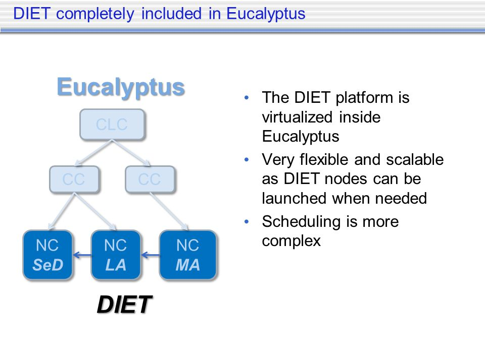DIET completely included in Eucalyptus The DIET platform is virtualized inside Eucalyptus Very flexible and scalable as DIET nodes can be launched when needed Scheduling is more complex CLC CC NC SeD NC SeD NC LA NC LA NC MA NC MA Eucalyptus DIET