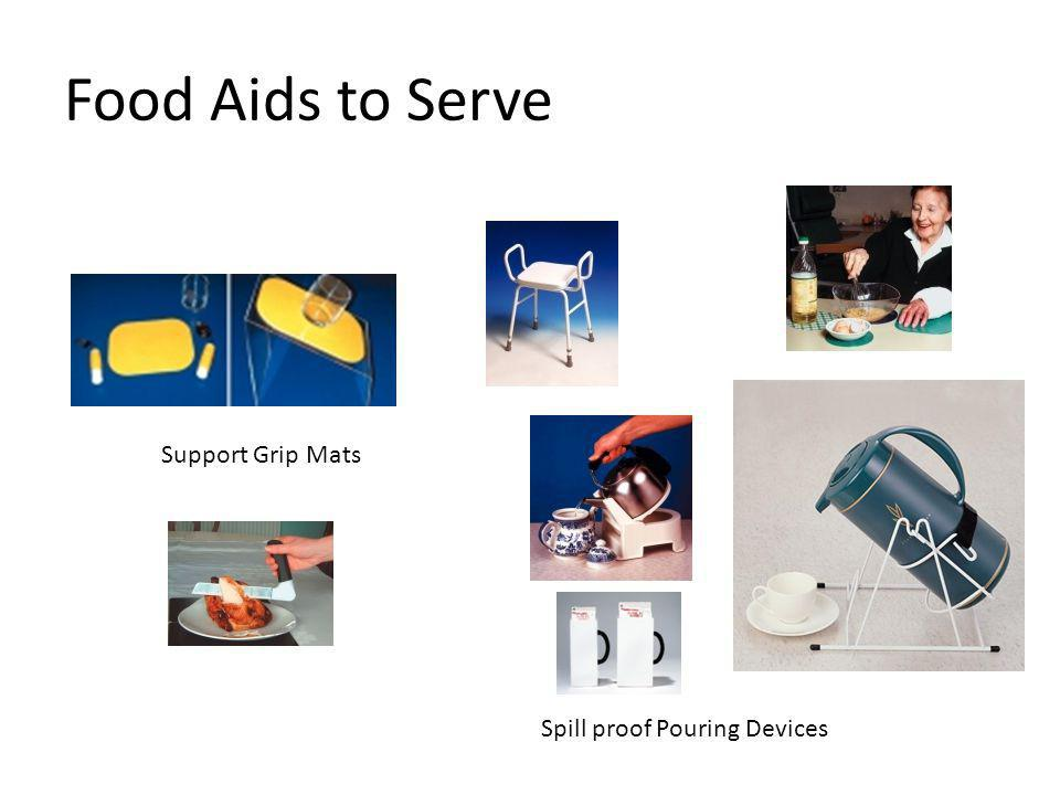 Food Aids to Serve Spill proof Pouring Devices Support Grip Mats