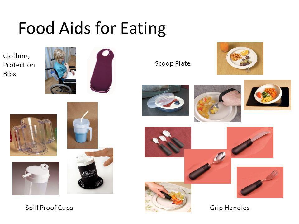 Food Aids for Eating Spill Proof CupsGrip Handles Clothing Protection Bibs Scoop Plate