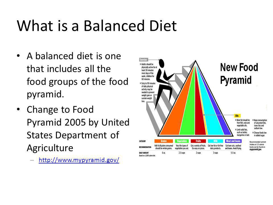 What is a Balanced Diet A balanced diet is one that includes all the food groups of the food pyramid.