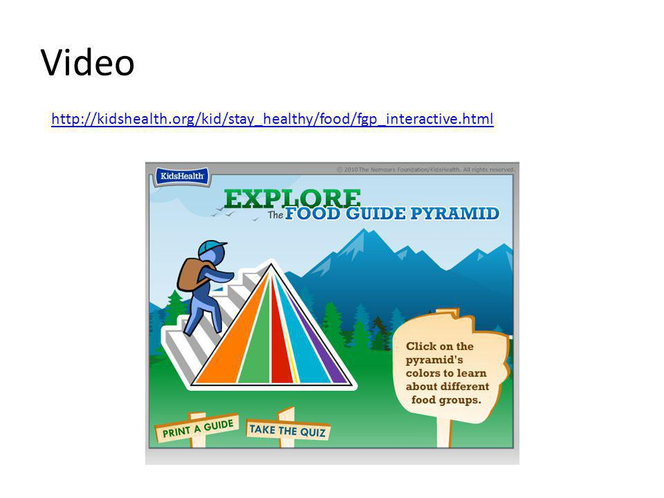 Video http://kidshealth.org/kid/stay_healthy/food/fgp_interactive.html