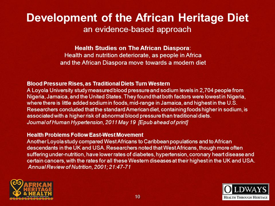 Health Studies on The African Diaspora: Health and nutrition deteriorate, as people in Africa and the African Diaspora move towards a modern diet Bloo