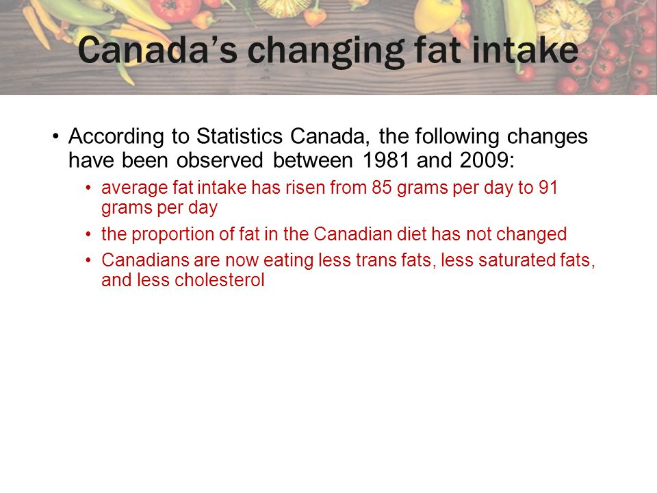 According to Statistics Canada, the following changes have been observed between 1981 and 2009: average fat intake has risen from 85 grams per day to 91 grams per day the proportion of fat in the Canadian diet has not changed Canadians are now eating less trans fats, less saturated fats, and less cholesterol Canadas changing fat intake