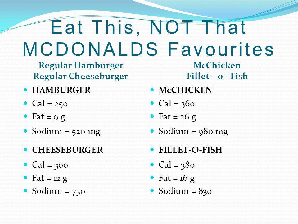 Regular Hamburger Regular Cheeseburger McChicken Fillet – o - Fish HAMBURGER Cal = 250 Fat = 9 g Sodium = 520 mg CHEESEBURGER Cal = 300 Fat = 12 g Sod