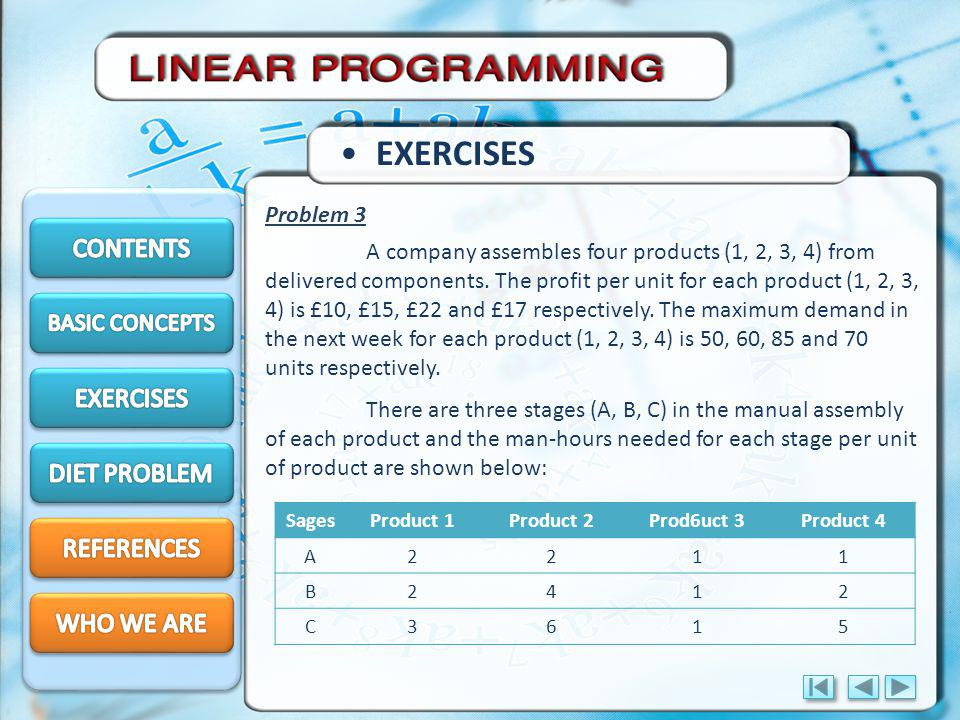 EXERCISES A company assembles four products (1, 2, 3, 4) from delivered components.