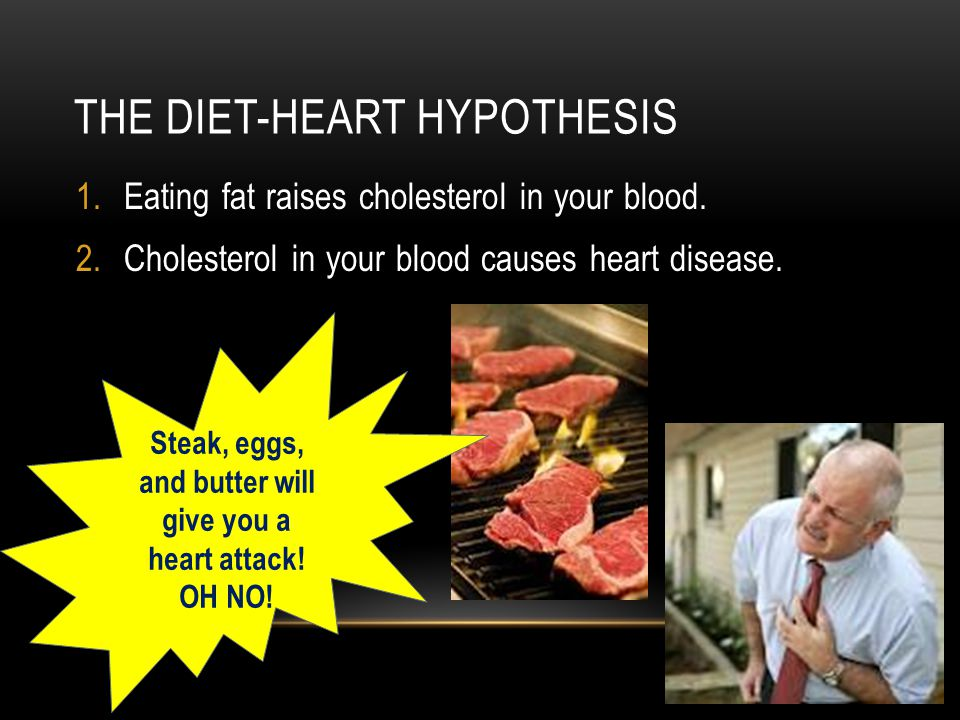 THE DIET-HEART HYPOTHESIS 1.Eating fat raises cholesterol in your blood.