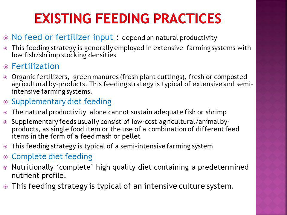 No feed or fertilizer input : depend on natural productivity This feeding strategy is generally employed in extensive farming systems with low fish/shrimp stocking densities Fertilization Organic fertilizers, green manures (fresh plant cuttings), fresh or composted agricultural by-products.