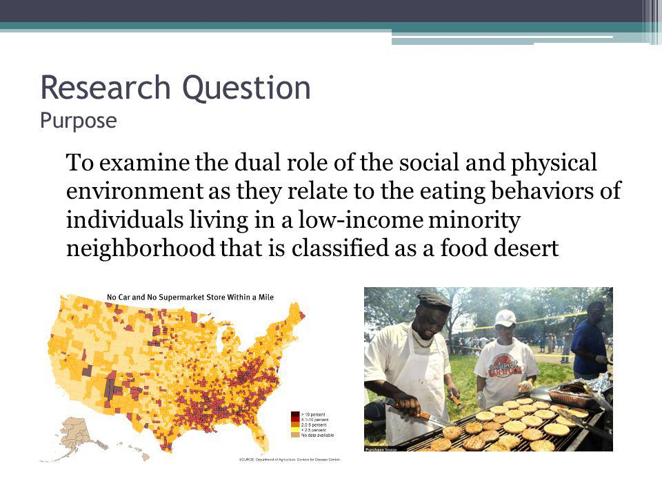 Research Question Purpose To examine the dual role of the social and physical environment as they relate to the eating behaviors of individuals living