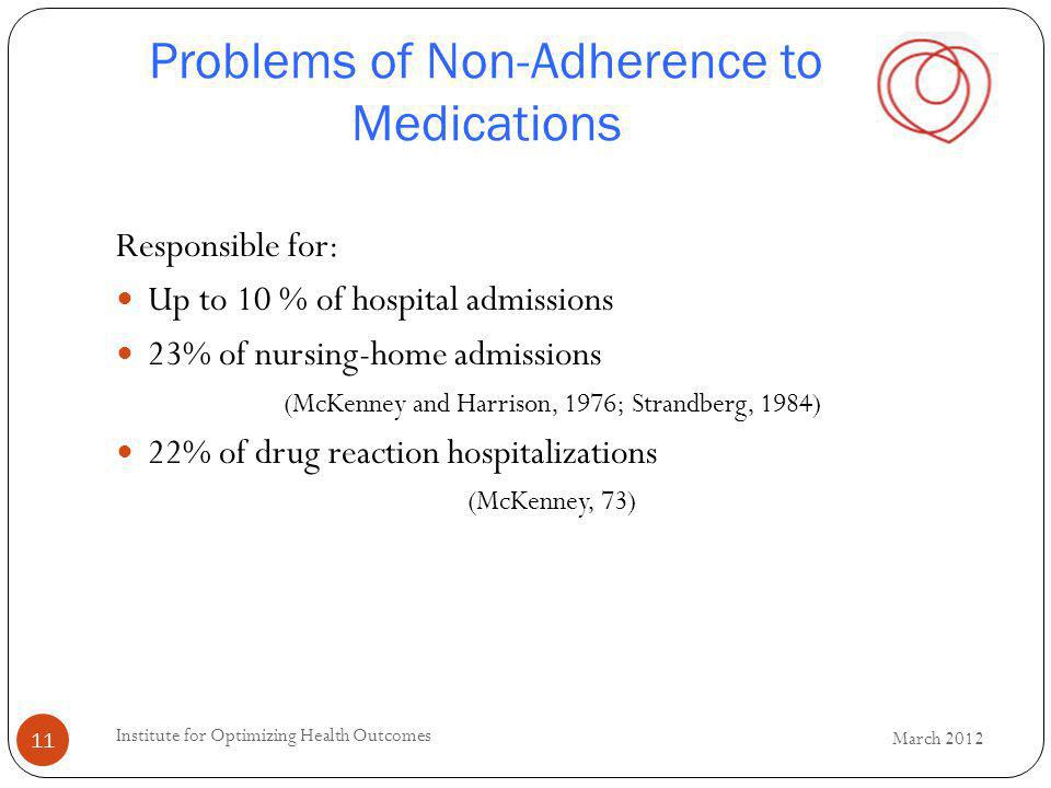 Problems of Non-Adherence to Medications Responsible for: Up to 10 % of hospital admissions 23% of nursing-home admissions (McKenney and Harrison, 1976; Strandberg, 1984) 22% of drug reaction hospitalizations (McKenney, 73) 11 March 2012 Institute for Optimizing Health Outcomes
