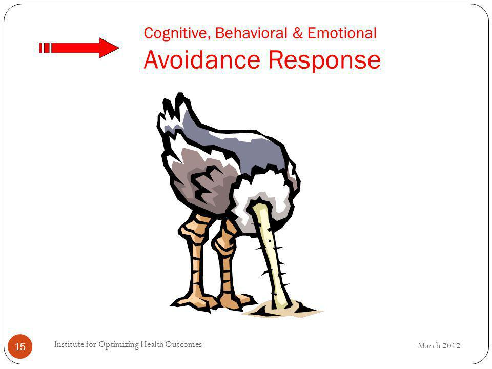 Cognitive, Behavioral & Emotional Avoidance Response 15 March 2012 Institute for Optimizing Health Outcomes