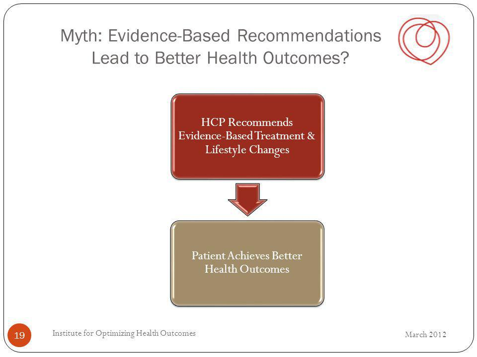 HCP Recommends Evidence-Based Treatment & Lifestyle Changes Patient Achieves Better Health Outcomes Myth: Evidence-Based Recommendations Lead to Bette