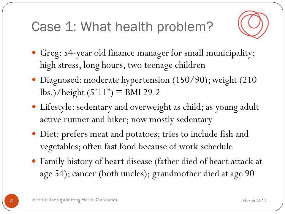 Case 1: What health problem.