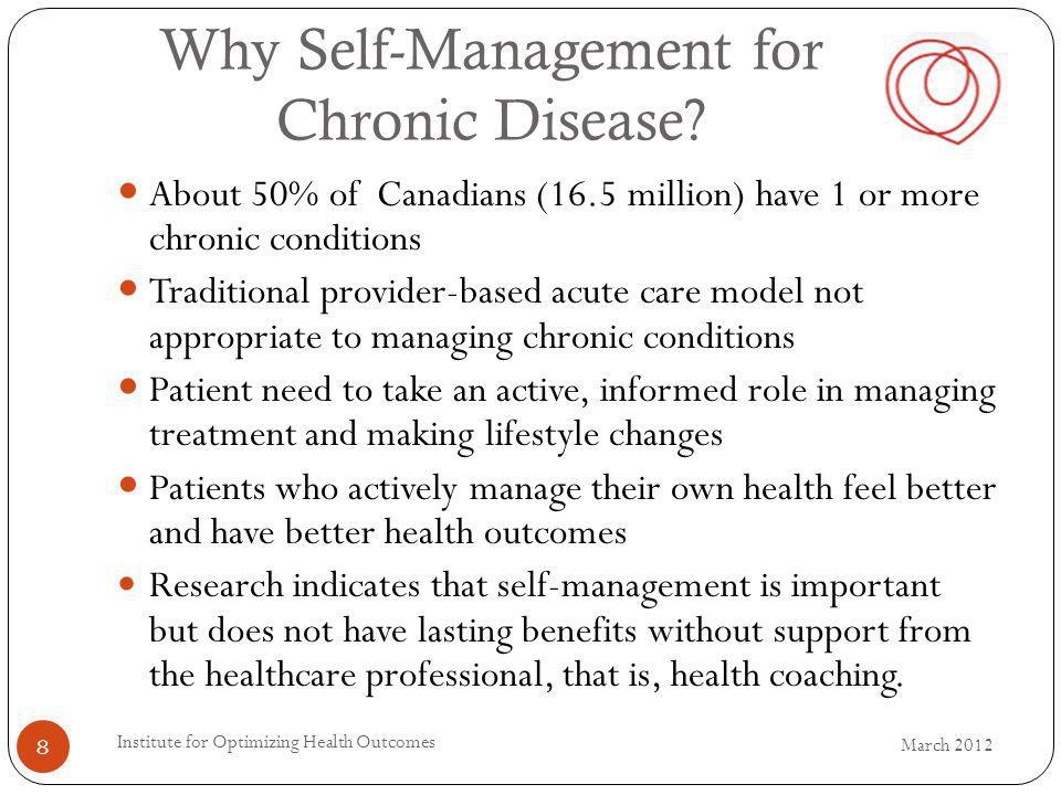 Why Self-Management for Chronic Disease? About 50% of Canadians (16.5 million) have 1 or more chronic conditions Traditional provider-based acute care