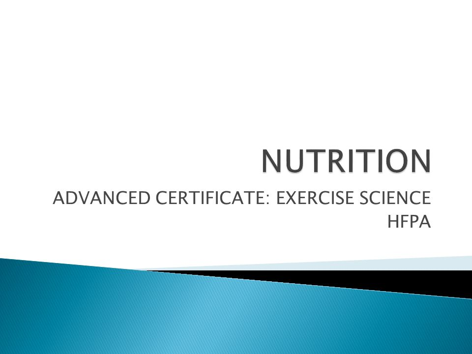 ADVANCED CERTIFICATE: EXERCISE SCIENCE HFPA