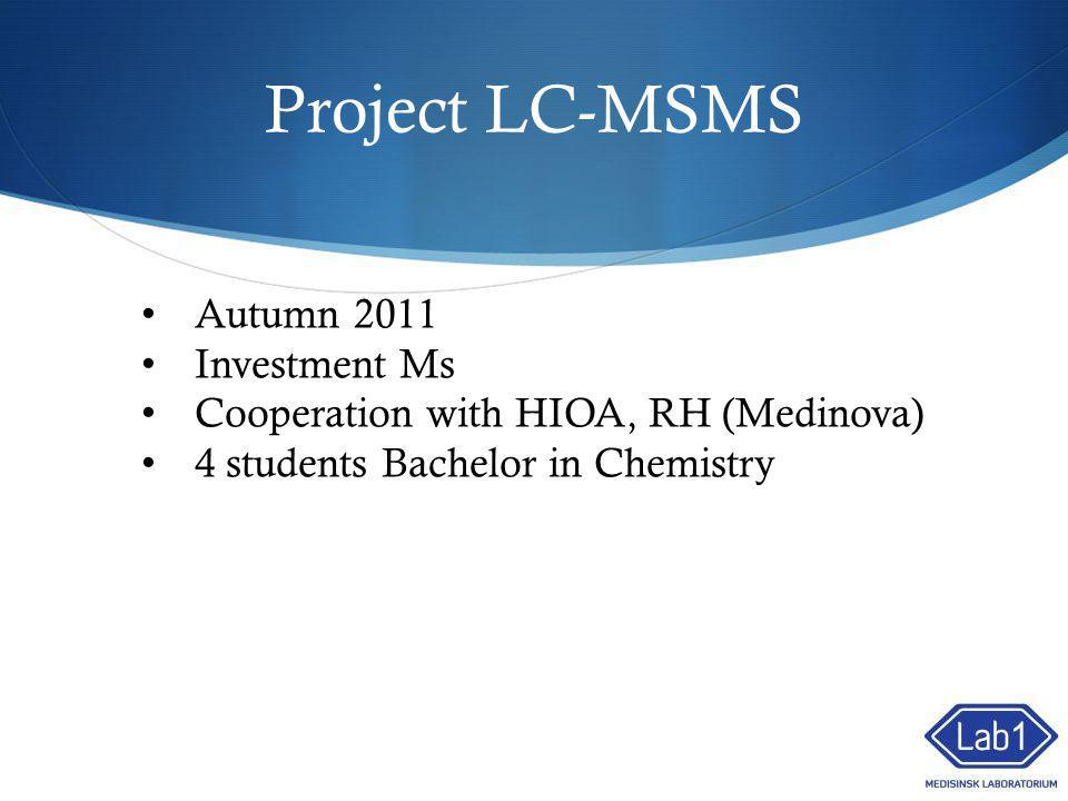 Project LC-MSMS Autumn 2011 Investment Ms Cooperation with HIOA, RH (Medinova) 4 students Bachelor in Chemistry