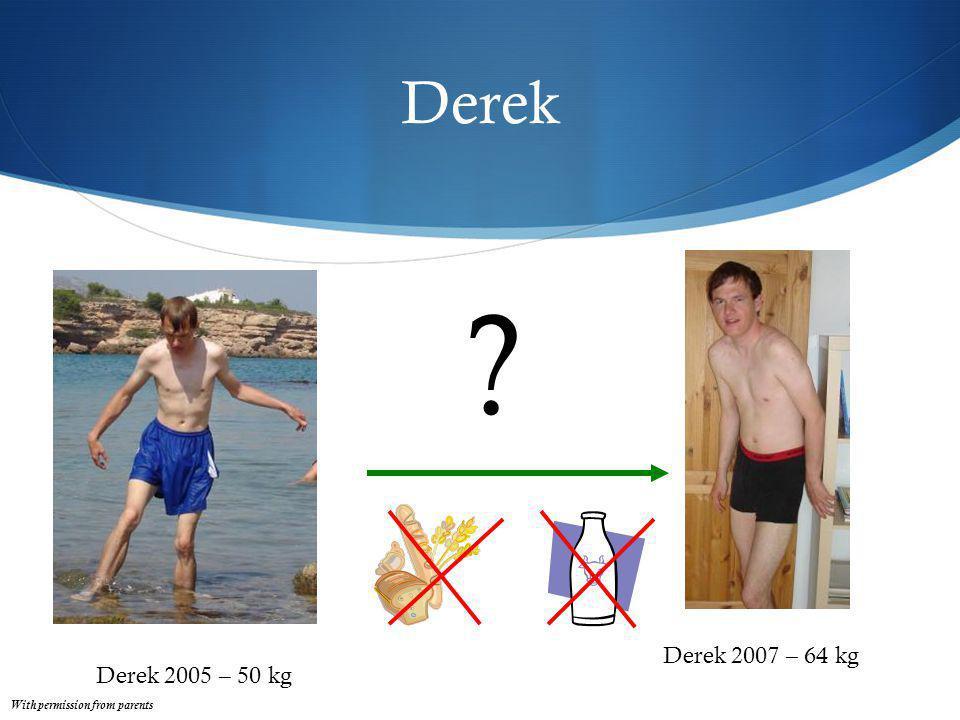 Derek Derek 2005 – 50 kg Derek 2007 – 64 kg ? With permission from parents