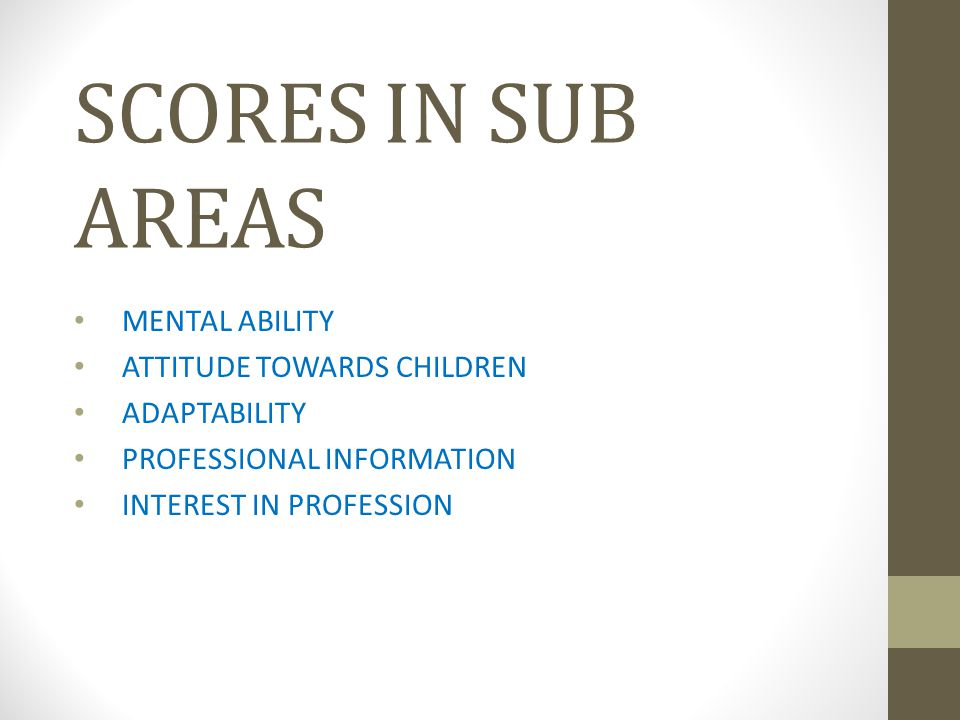 SCORES IN SUB AREAS MENTAL ABILITY ATTITUDE TOWARDS CHILDREN ADAPTABILITY PROFESSIONAL INFORMATION INTEREST IN PROFESSION