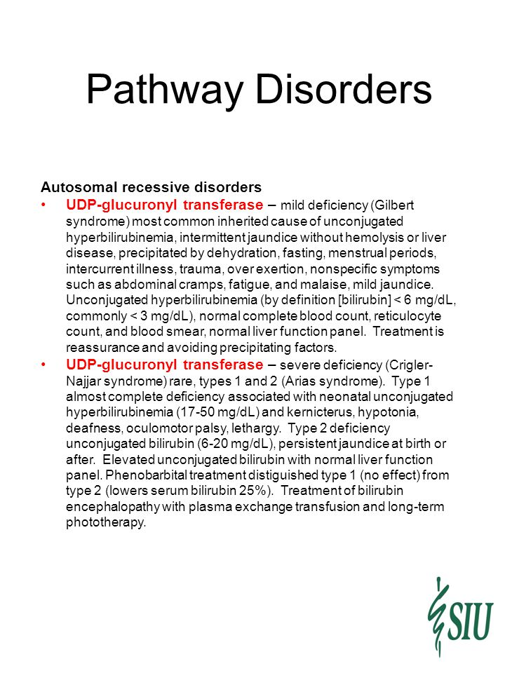Pathway Disorders Autosomal recessive disorders UDP-glucuronyl transferase – mild deficiency (Gilbert syndrome) most common inherited cause of unconju