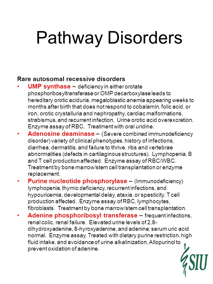 Pathway Disorders Rare autosomal recessive disorders UMP synthase – deficiency in either orotate phosphoribosyltransferase or OMP decarboxylase leads to hereditary orotic aciduria, megaloblastic anemia appearing weeks to months after birth that does not respond to cobalamin, folic acid, or iron, orotic crystalluria and nephropathy, cardiac malformations, strabismus, and recurrent infection.