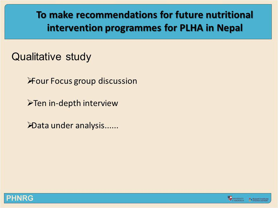 Qualitative study Four Focus group discussion Ten in-depth interview Data under analysis...... To make recommendations for future nutritional interven
