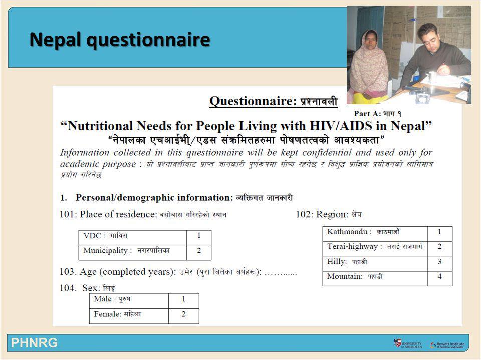 Nepal questionnaire