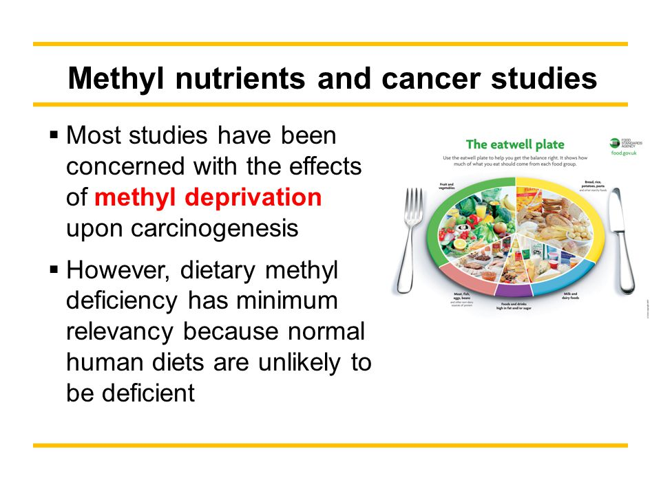 Methyl nutrients and cancer studies Most studies have been concerned with the effects of methyl deprivation upon carcinogenesis However, dietary methyl deficiency has minimum relevancy because normal human diets are unlikely to be deficient