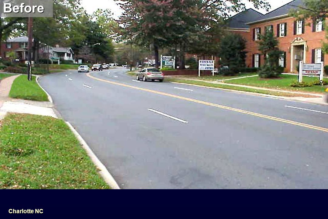 BeforeAfter Reclaiming road space creates room for bicycle lanes and pedestrian islands Charlotte NC