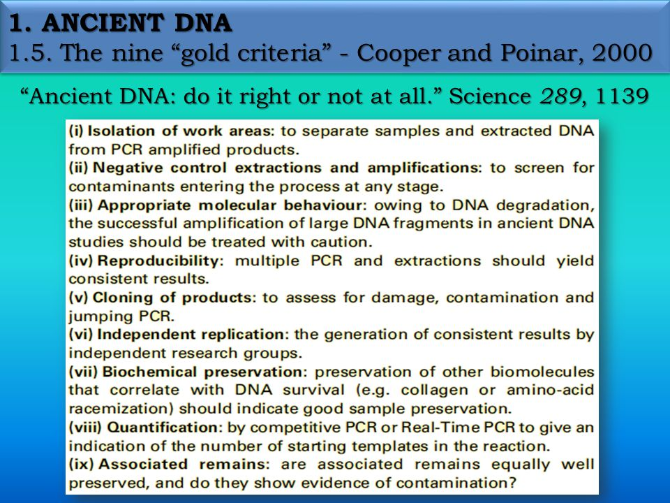1.ANCIENT DNA 1.6. Anthropological applications 6.