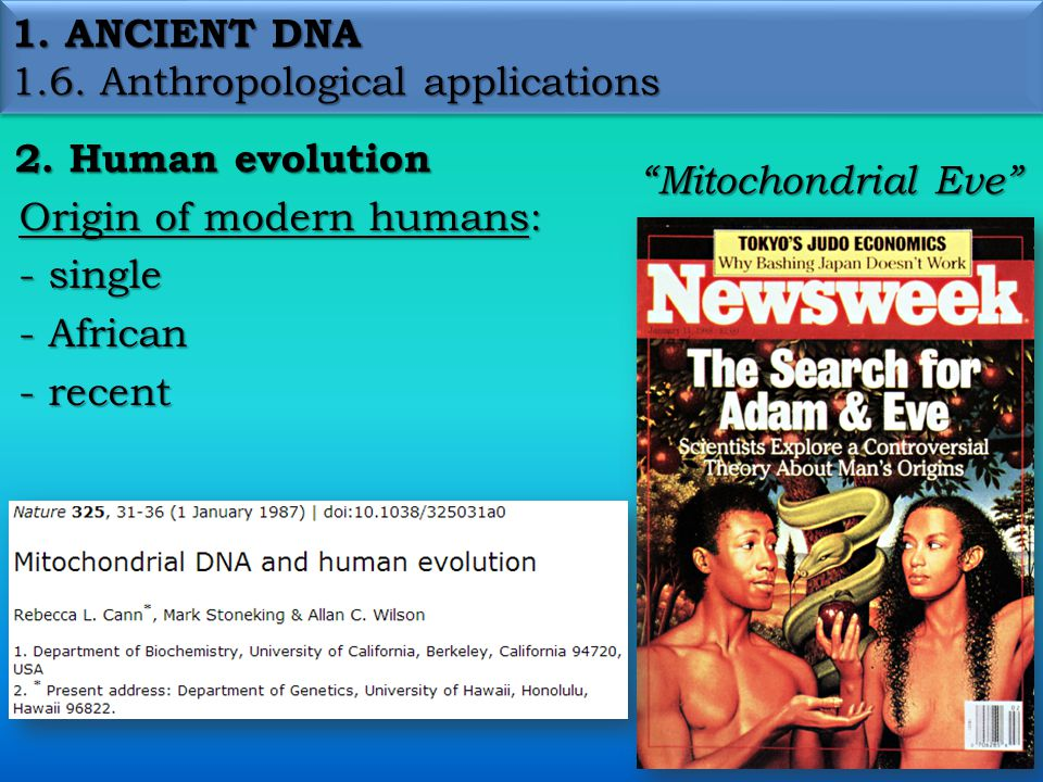 1.ANCIENT DNA 1.6. Anthropological applications 2.