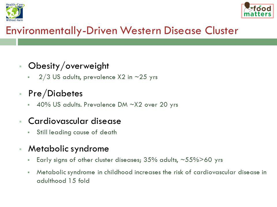 Environmentally-Driven Western Disease Cluster Obesity/overweight 2/3 US adults, prevalence X2 in ~25 yrs Pre/Diabetes 40% US adults.
