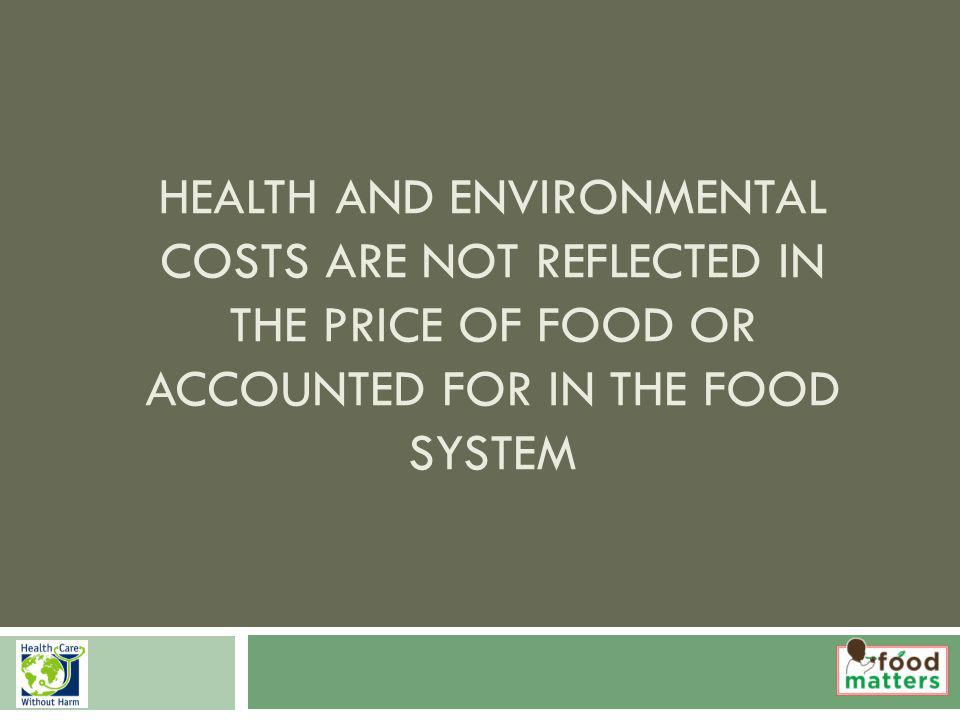 HEALTH AND ENVIRONMENTAL COSTS ARE NOT REFLECTED IN THE PRICE OF FOOD OR ACCOUNTED FOR IN THE FOOD SYSTEM