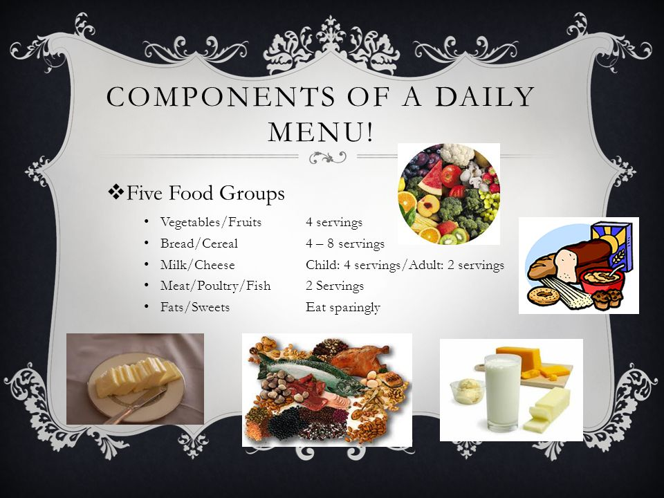MENU GUIDELINES FOR THE AVERAGE ADULT Calories1800 – 2000 Fat (less than 30% of calories) Less than 60 grams Saturated Fat (less than 8% of calories) Less than 16 grams CholesterolLess than 300 milligrams Dietary Fiber20 - 35 grams SodiumLess than 2400 milligrams