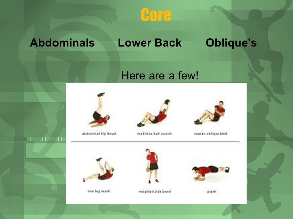 Core AbdominalsLower BackOblique s Here are a few!