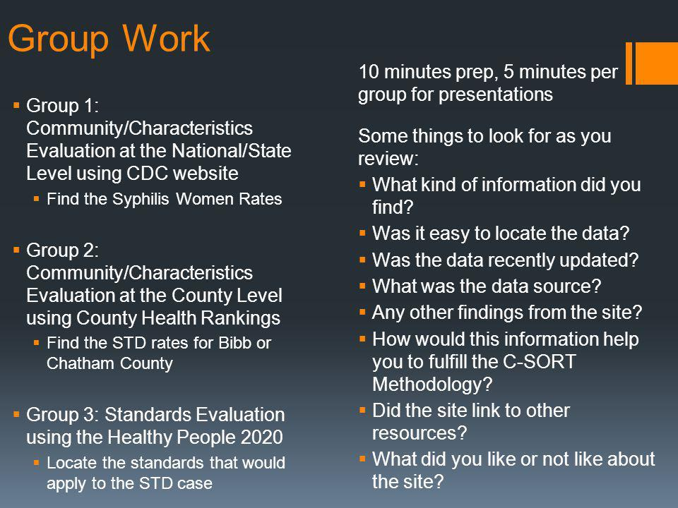 Group Work Group 1: Community/Characteristics Evaluation at the National/State Level using CDC website Find the Syphilis Women Rates Group 2: Community/Characteristics Evaluation at the County Level using County Health Rankings Find the STD rates for Bibb or Chatham County Group 3: Standards Evaluation using the Healthy People 2020 Locate the standards that would apply to the STD case 10 minutes prep, 5 minutes per group for presentations Some things to look for as you review: What kind of information did you find.
