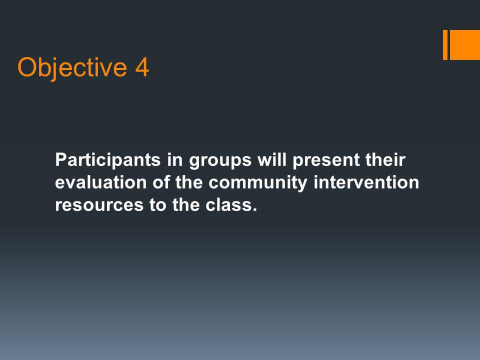 Objective 4 Participants in groups will present their evaluation of the community intervention resources to the class.