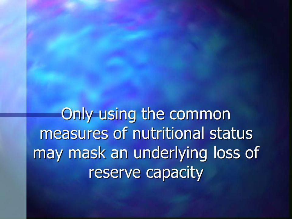 Only using the common measures of nutritional status may mask an underlying loss of reserve capacity