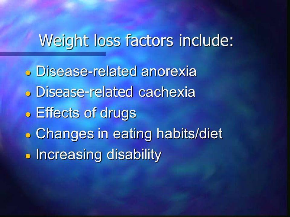 Weight loss factors include: Disease-related anorexia Disease-related anorexia Disease-related cachexia Disease-related cachexia Effects of drugs Effects of drugs Changes in eating habits/diet Changes in eating habits/diet Increasing disability Increasing disability
