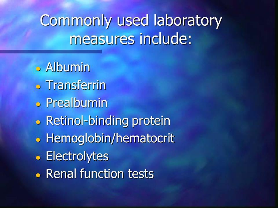 Commonly used laboratory measures include: Albumin Albumin Transferrin Transferrin Prealbumin Prealbumin Retinol-binding protein Retinol-binding protein Hemoglobin/hematocrit Hemoglobin/hematocrit Electrolytes Electrolytes Renal function tests Renal function tests