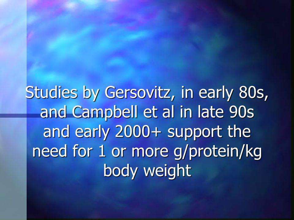 Studies by Gersovitz, in early 80s, and Campbell et al in late 90s and early 2000+ support the need for 1 or more g/protein/kg body weight