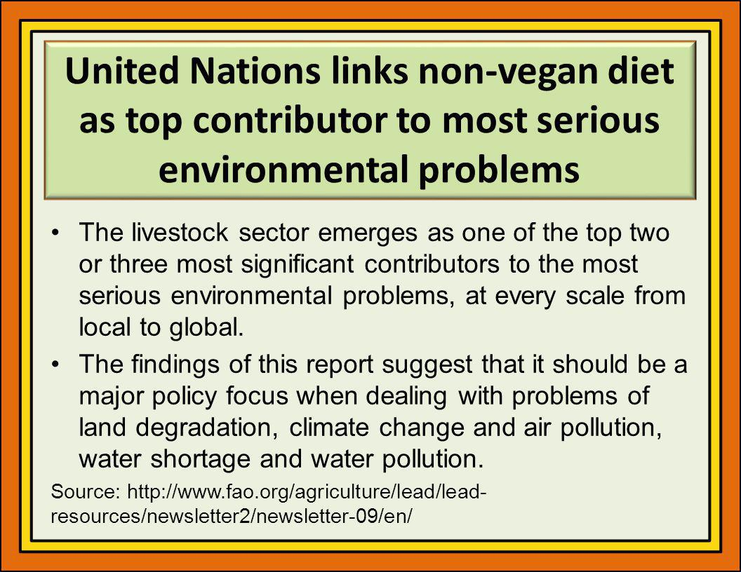 United Nations links non-vegan diet as top contributor to most serious environmental problems The livestock sector emerges as one of the top two or three most significant contributors to the most serious environmental problems, at every scale from local to global.
