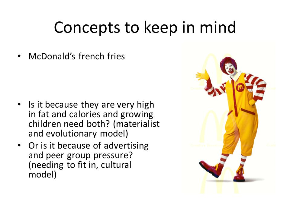 Concepts to keep in mind McDonalds french fries Is it because they are very high in fat and calories and growing children need both.