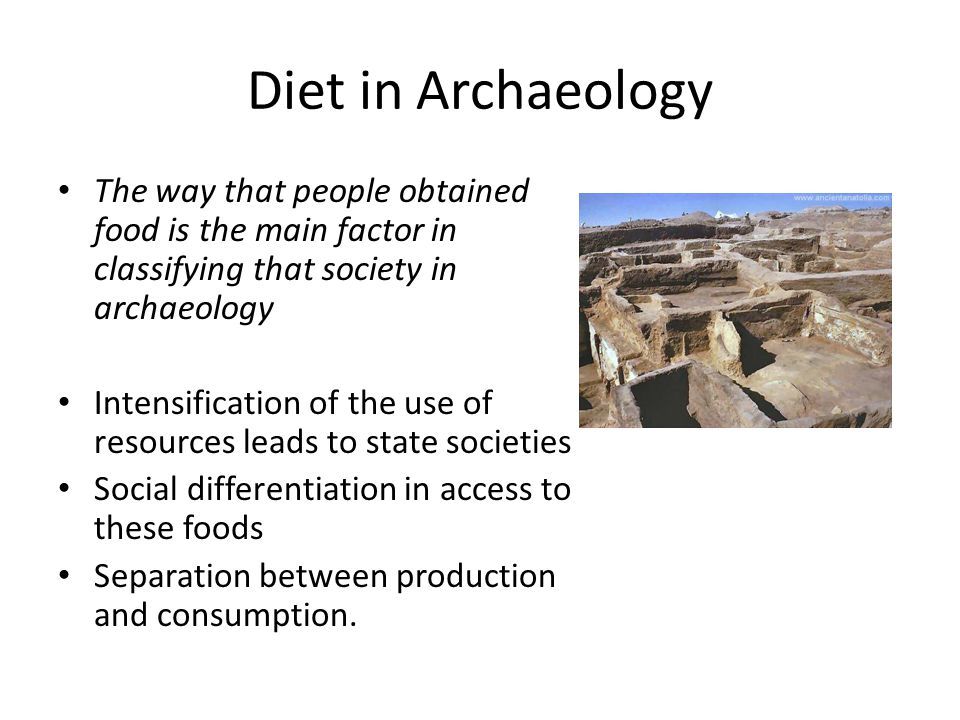 Diet in Archaeology The way that people obtained food is the main factor in classifying that society in archaeology These time periods are generally referred to as the Palaeolithic (hunter-gatherers) The Epi-Palaeolithic/Mesolithic (specialisation of wild resources)