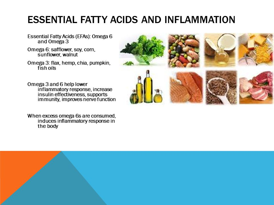 ESSENTIAL FATTY ACIDS AND INFLAMMATION Essential Fatty Acids (EFAs): Omega 6 and Omega 3 Omega 6: safflower, soy, corn, sunflower, walnut Omega 3: flax, hemp, chia, pumpkin, fish oils Omega 3 and 6 help lower inflammatory response, increase insulin effectiveness, supports immunity, improves nerve function When excess omega 6s are consumed, induces inflammatory response in the body