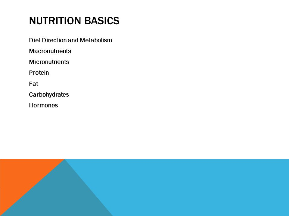 NUTRITION BASICS Diet Direction and Metabolism Macronutrients Micronutrients Protein Fat Carbohydrates Hormones