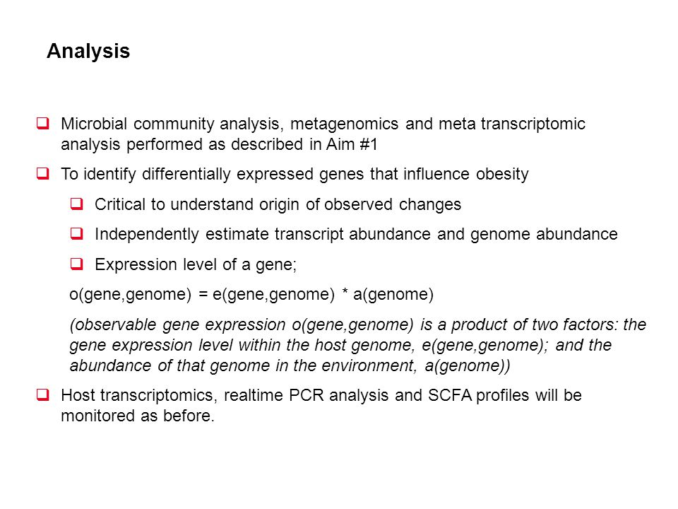 Analysis Microbial community analysis, metagenomics and meta transcriptomic analysis performed as described in Aim #1 To identify differentially expre